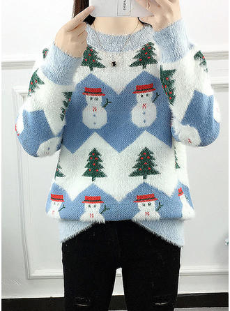 Cotton Round Neck Print Color Block Ugly Christmas Sweater