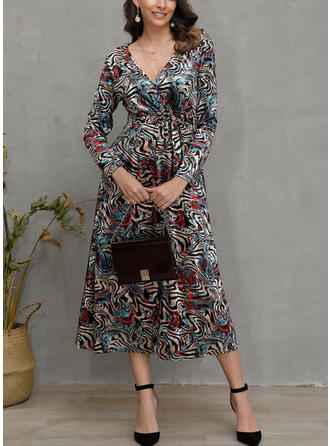 Print Long Sleeves Sheath Midi Casual Dresses