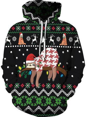 Unisex Cotton Blends Print Reindeer Christmas Sweatshirt