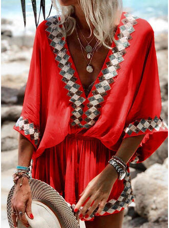 Print 3/4 Sleeves Sheath Above Knee Casual/Vacation Dresses