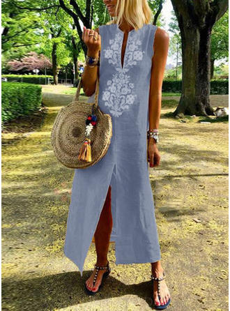 Print Sleeveless Shift Boho/Vacation Maxi Dresses