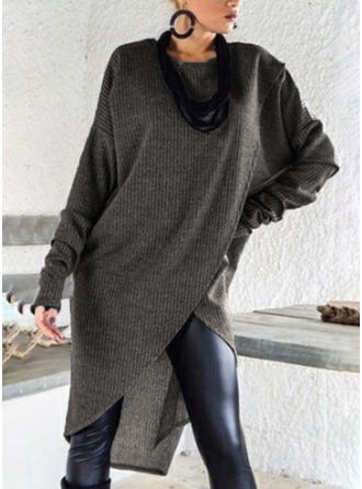 Couleur Unie Col Rond Robe Pull