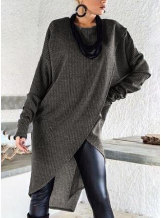 Jednolity kolor Okrągły Dekolt Sukienka sweterkowa