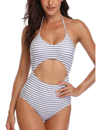 Stripe Monokini Tropical Print Halter Sexy One-piece Swimsuits