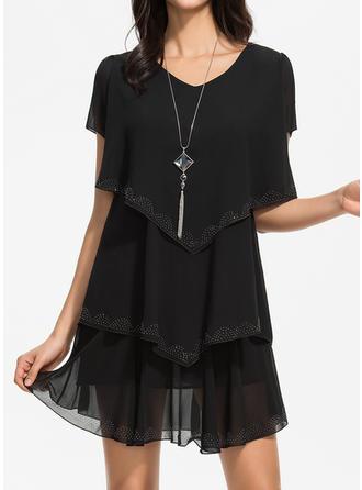 Couleur Unie Manches Courtes Droite Au-dessus Du Genou Petites Robes Noires/Décontractée Robes