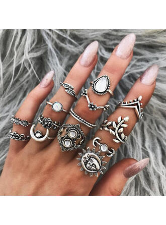 Stylish Alloy With Imitation Stones Jewelry Sets Rings