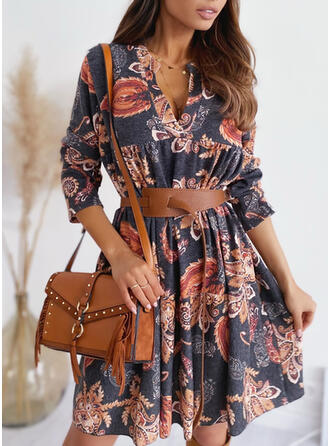 Print Long Sleeves Sheath Above Knee Vintage/Casual Dresses