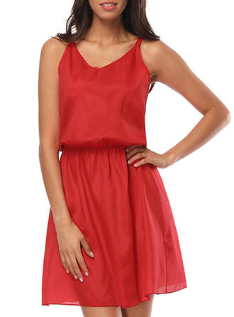 Solid Spaghetti Straps Above Knee A-line Dress