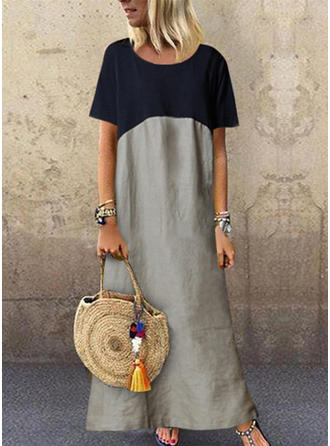 Print/Color Block Short Sleeves Shift Maxi Casual Dresses