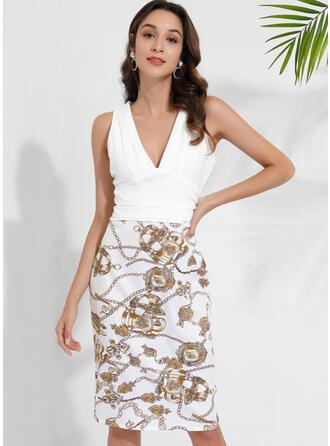Imprimée/Fleurie/Patchwork Sans Manches Moulante Longueur Genou Sexy/Fête Robes