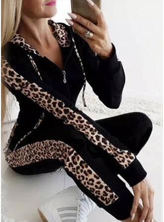 Patchwork Plus Size Leopard Casual Sexy Sporty Pants Suits
