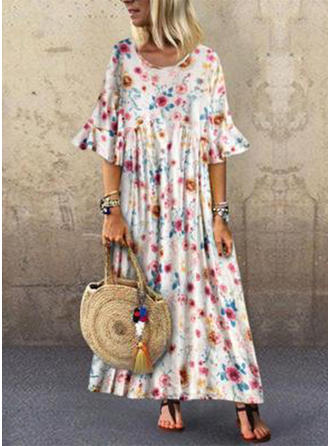 Print/Floral 1/2 Sleeves/Flare Sleeves Shift Maxi Casual/Vacation Dresses