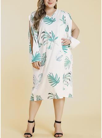 Print Long Sleeves/Split Sleeve Shift Plus Size Midi Dresses