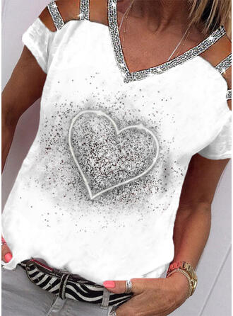 Print Heart Sequins Cold Shoulder Short Sleeves Casual Blouses