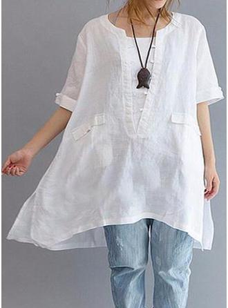 Polyester Round Neck Plain 1/2 Sleeves Shirt Blouses