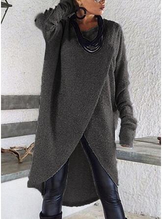 Couleur unie Manches longues Droite longueur au genou Pulls/Casual Robes