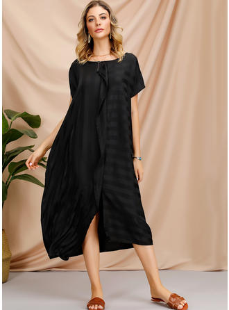 Striped Short Sleeves Shift Midi Little Black/Casual Dresses