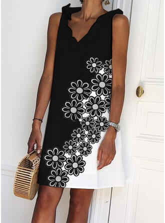 Print/Floral/Color Block Sleeveless Shift Above Knee Casual Dresses