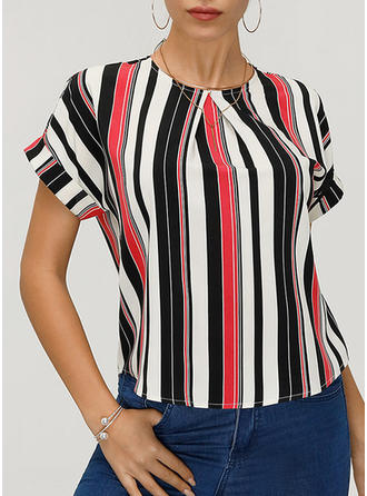 Striped Round Neck Short Sleeves Casual Elegant T-shirts