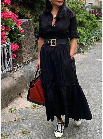 Solide Lange Mouwen A-lijn Shirt Zwart jurkje/Casual Maximum Jurken