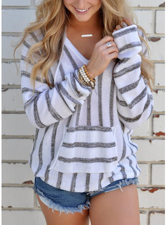 Cotton Polyester V Neck Striped Long Sleeves Casual Blouses