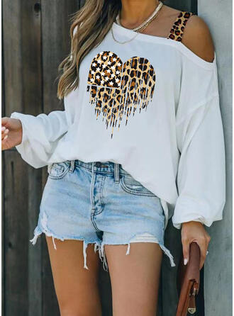 Leopard Heart Print One Shoulder Long Sleeves T-shirts
