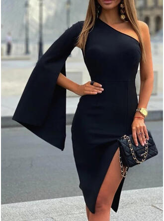 Solid Long Sleeves/Flare Sleeves/Split Sleeve Sheath Knee Length Little Black/Party Dresses