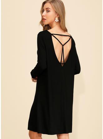 Jednolita Długie rękawy Koktajlowa Długośc do kolan Mała czarna/Casual Sukienki
