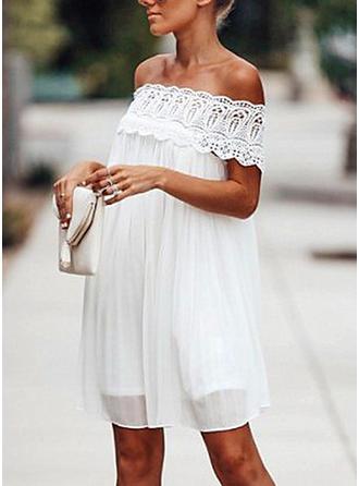 Lace Solid Off-the-Shoulder Above Knee Shift Dress