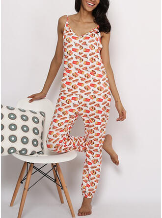 V-Neck Sleeveless Print Casual Lounge Rompers