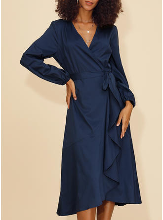 Solid Long Sleeves A-line Midi Casual/Elegant Dresses