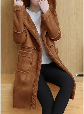 Puuvilla Pitkähihaiset Solid Color Tekoturkis takki