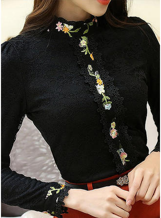 Polyester Stand-up Collar Print Long Sleeves Casual Blouses