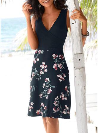 Print/Floral Sleeveless Sheath Knee Length Casual/Vacation Dresses