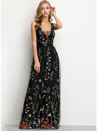 Embroidery/Floral Sleeveless A-line Maxi Sexy/Party Dresses