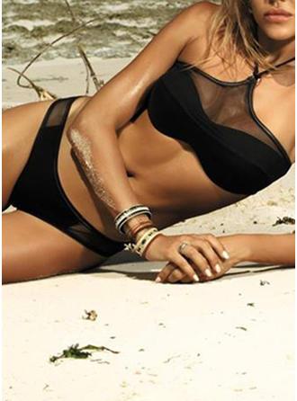 Taille Basse Imprimé Engrener Col Haut Sexy Élégante Bikinis Maillots De Bain