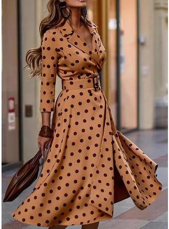 PolkaDot 3/4 Sleeves A-line Skater Elegant Midi Dresses