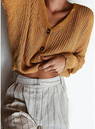 Cotton V-neck Plain Sweater