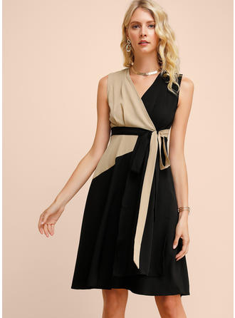 Color-block Sleeveless A-line Knee Length Casual/Elegant Dresses