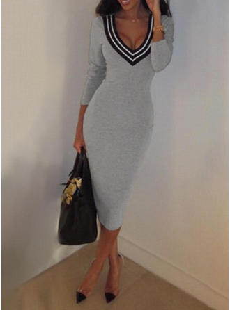 Striped Long Sleeves Bodycon Midi Casual/Elegant Dresses