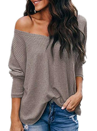 Solid One-Shoulder 3/4 Sleeves Casual Knit Blouses
