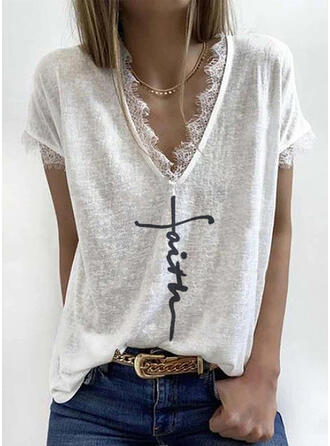 Print Patchwork Lace V-Neck Short Sleeves Casual T-shirts