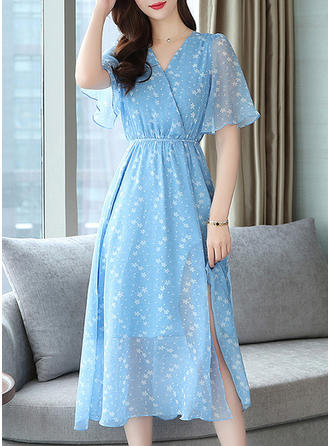 Print Short Sleeves A-line Midi Casual Dresses