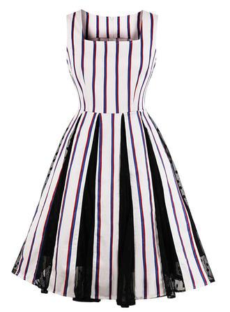 Striped Square Neck Knee Length A-line Dress