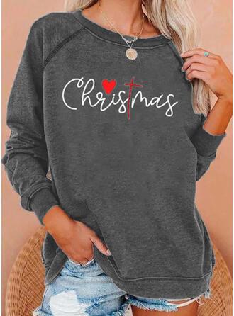 Print Figur Hjerte rund hals Lange ærmer Jule sweatshirt