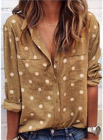 PolkaDot Lapel Long Sleeves Button Up Casual Shirt Blouses