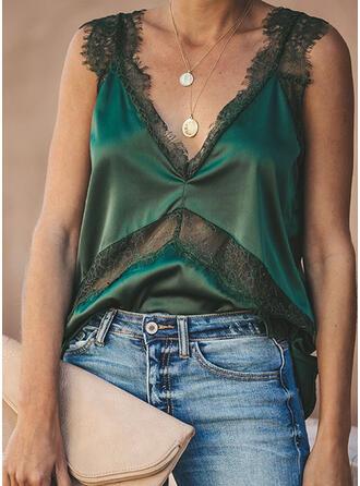 Print Lace V-Neck Sleeveless Casual Tank Tops