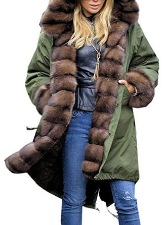 Polyester Faux Fur Long Sleeves Plain Faux Fur Coats