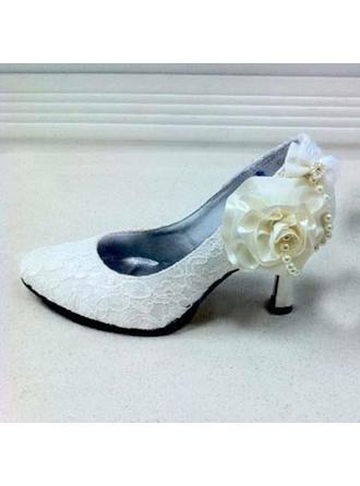 Women's Leatherette Chunky Heel Closed Toe Pumps With Beading Flower