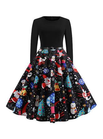 Print Long Sleeves A-line Knee Length Vintage/Christmas Dresses